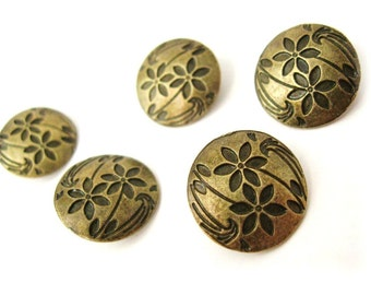 5 Antique bronze Shank Sewing Buttons Carved Flowers 17mm  (BM103)