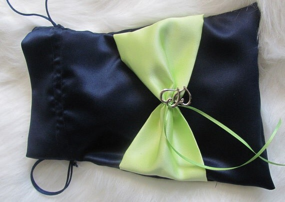 Two Hearts Become One Wedding Bridal Money Bag - Marine Blue and Key Lime Shown Other Colors Available