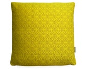 Handwoven by Emily - British Wool Acid Yellow Geometric Cushion Cover