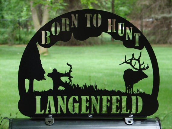 Bow Hunter MAILBOX TOPPER Address Sign Home Decor Elk Hunting Arrow