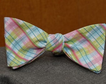 Light and Lovely Plaid  Bow Tie