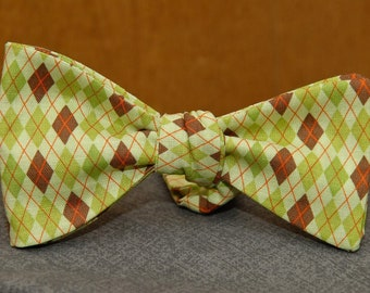 Greens and Brown in Argyle  Bow Tie