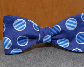 Blue Dots and Stripes  Bow Tie