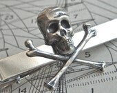 Skull Tie Bar Silver Skull & Crossbones Gothic Victorian Steampunk Pirate Tie Clip Men's Gifts For Him