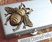 Bee Pill Box Small Size Metal Pill Case Gothic Victorian Bee Brass Honey Bee Corner Tiny Pillbox