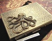 Corner Octopus Cigarette Case Oversized Business Card Holder Gothic Victorian Steampunk Vintage Inspired Antiqued Gold Brass Tone Metal