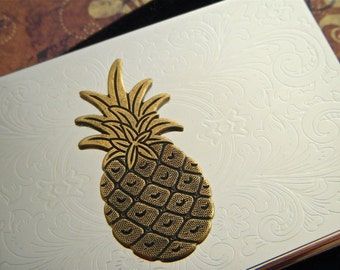 Pineapple Business Card Case Gothic Victorian Tropical Tiki Vintage Inspired Style Slim Card Holder