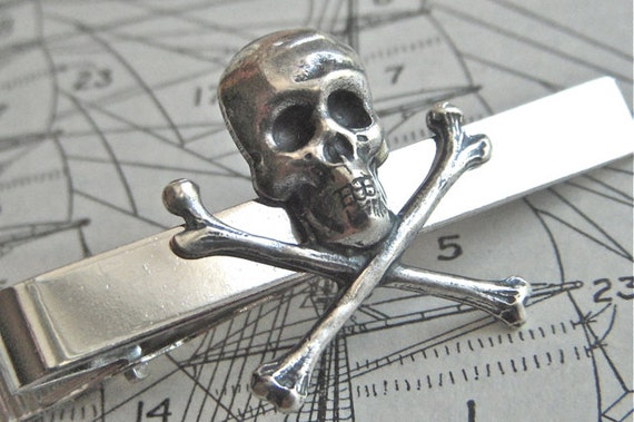 Skull Tie Bar Silver Skull & Crossbones Gothic Victorian Steampunk Pirate Tie Clip Men's Gifts For Him