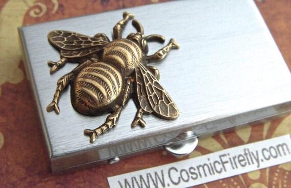 Bee Pill Box Small Size Metal Pill Case Gothic Victorian Bee Brass Honey Bee Corner Tiny Pillbox