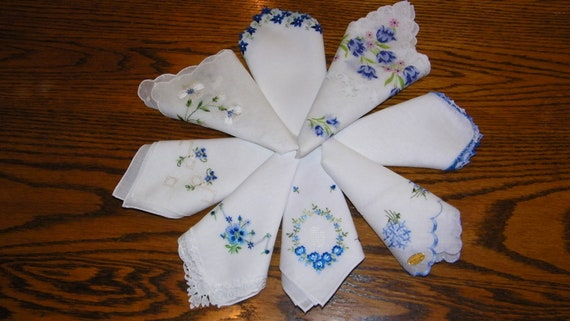 Gorgeous Vintage Lot of 8 BLUE Embroidered Floral and Crochet Wedding Handkerchiefs, PERFECT,  7619