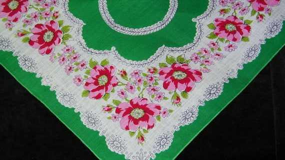 "Vintage 13"" 1940's Pink and Green Floral Blank Center Craft Wedding Favor  Handkerchief, 7837"