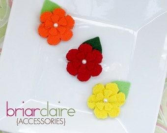 Erin - Felt Petunias Clip Set (many colors available)
