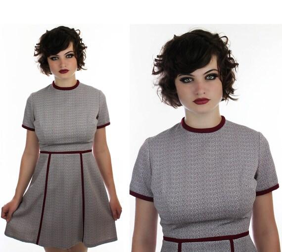 70s Mod Mini Dress Vintage 60s Burgundy & By