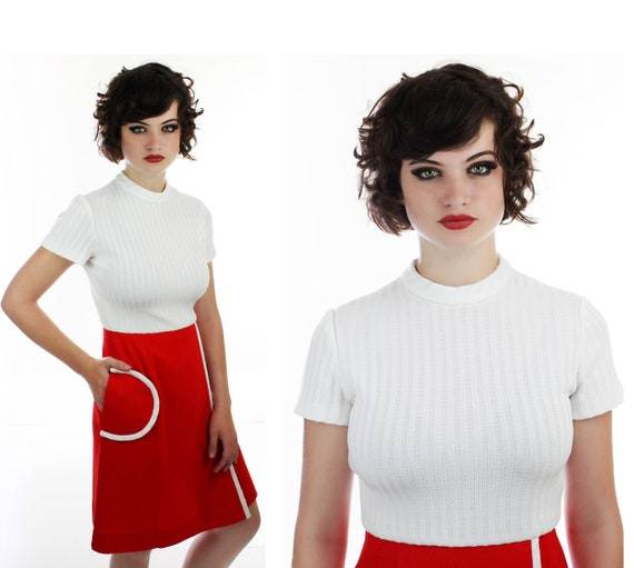 Mod Round Pocket Dress Bright Red 60s 70s Mini 1960s Sixties White Trim Details A-Line Retro Small S Medium M