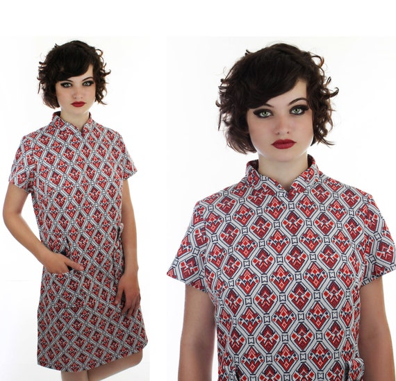 1960s Abstract MOD Dress 60s 70s Red White Blue Floral Psychedelic Pocket Button Details 1970s L Large XL Plus Size