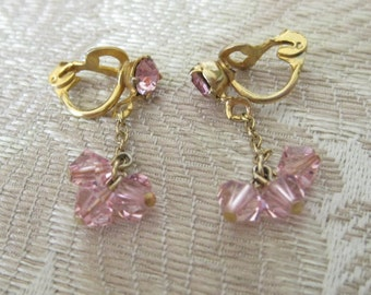 Pretty Vintage Pink Austrian Crystal Dangle Earrings