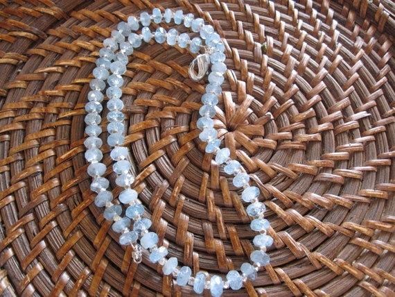 Faceted aquamarine beaded necklace