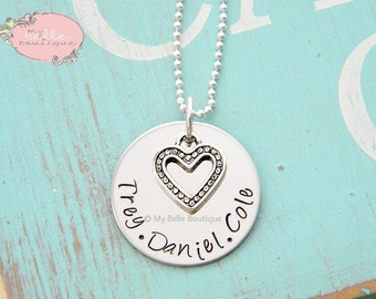 Personalized Hand Stamped Family Names Necklace with Unique Funky Heart Charm