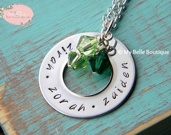 1 Inch Personalized Hand Stamped Washer Necklace with Birthstones