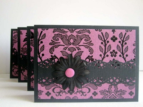 Note card set of 4, damask magenta and black, notecard set