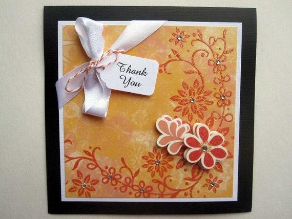 Handmade Thank You card dreamy mango