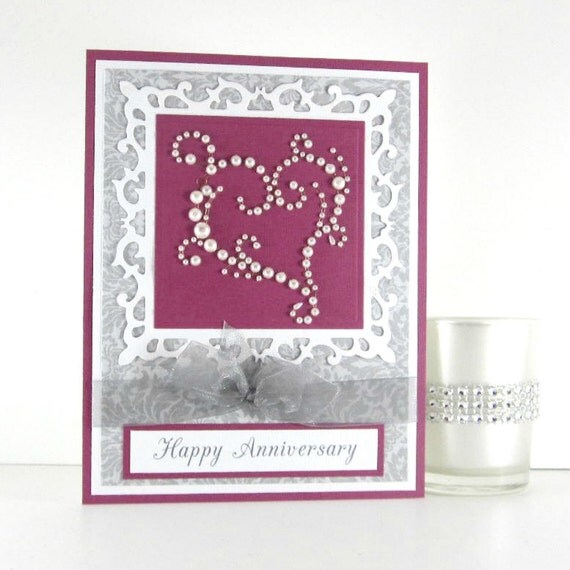 Elegant Anniversary card, pearl heart, congratulations to a special couple