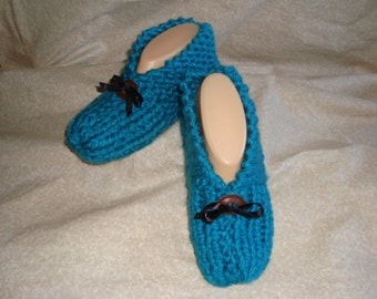 Women's Knitted Turquoise Slippers with Concho Size 6, 7, or 8