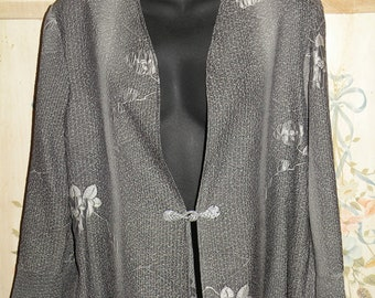 Silk Kimono Fabric Jacket sm..Long Island Wedding/Bridal/Holiday Evening Handmade..Matching Clutch..Cherry Blossom..Grey Woven Floral..Gray