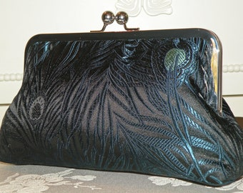 Peacock Feather Clutch/Purse/Bag..Silk Brocade..Navy/Torquoise..Bridesmaid Gift..matching wrap..Bridal/Wedding..Free Monogram