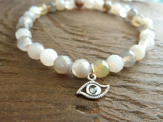 Evil Eye Protection Mala Bracelet - Reiki, Prayer Bead, Healing Bracelet, Yoga, Charm Bracelet, Healing Bracelet, Prayer Bead, Yoga Jewelry
