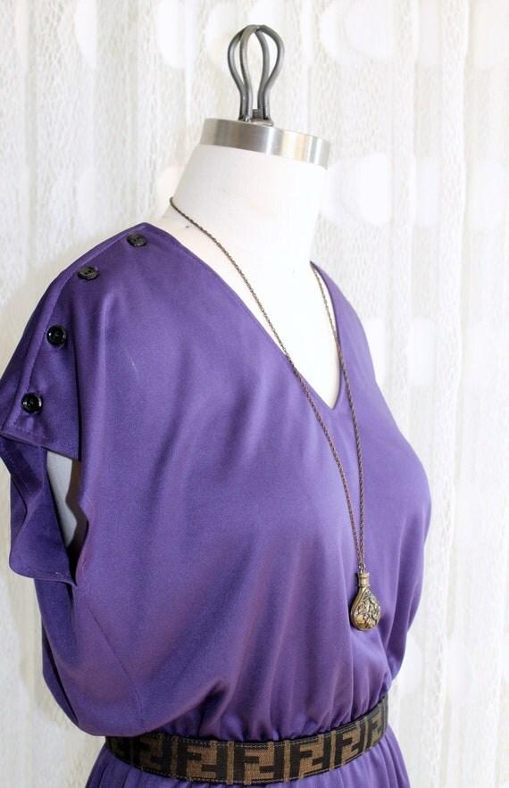 Vintage Royal Purple V-Neck Dress