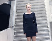 Black eco cotton jersey dress with long sleeves and seam detailing -MADE TO ORDER