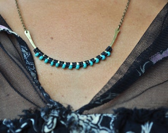 Curved Hammered Brass Necklace black and turquoise