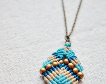 Beaded Buddha Necklace ocean colors