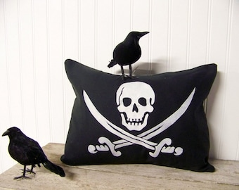 pirate flag pillow cover - silhouette - halloween home decor - black and white - canvas - skull and cross bones