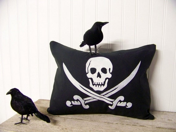 free shipping pirate flag pillow cover silhouette