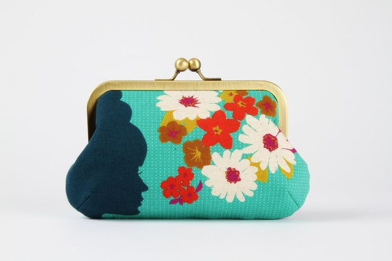 Granny purse - Silhouette on blue - metal frame clutch bag