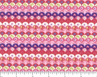 Owls Collection Pink Scallops Scales Feathers Fabric by the Henley Studio for Andover Makower UK Fabrics - 1 yard