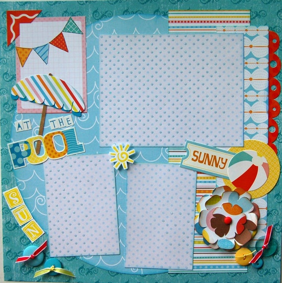 At the pool    premade finished 12x12 single scrapbook page by urbansavanna