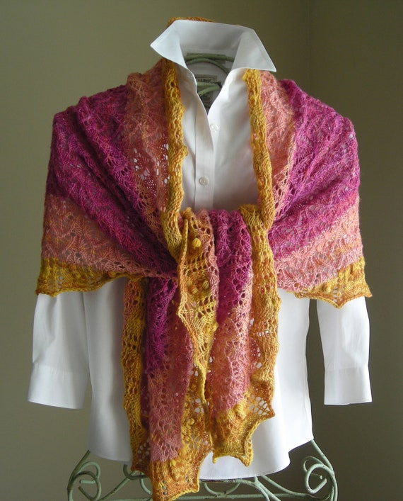 Lace Shawl Knitting Pattern PDF - Crape Myrtle Scarf Shawl - great for gifts - cowl wrap -  pattern using sock fingering lace yarn