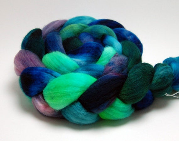 Meadow - 4 oz Blue Green Purple Handpainted Merino Wool Roving Top