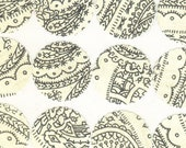 Scallop Envelope Seals Stickers - Black and Cream Paisley Collection (12) One Inch