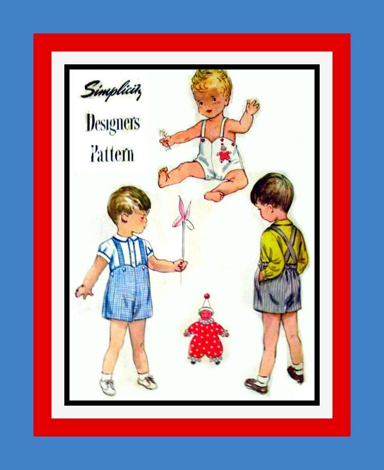 Vintage 1950 Designer Toddler Boys Sunsuit Sewing Pattern