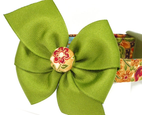 Fall Florentine Dog Collar with Bow, Sizes Small or Medium ONLY