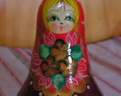 Russian Roly-Poly doll Red Green Brown, Yellow and Gold