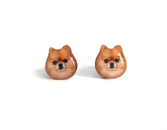 Brown Pomeranian Dog Stud Earrings - A025ER-D05   Made To Order