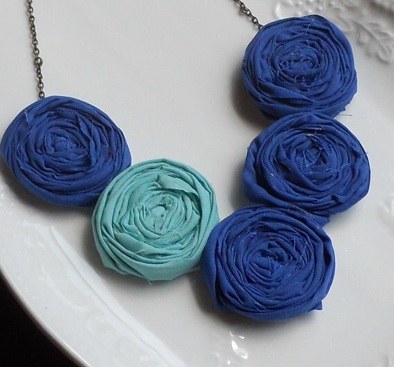 SALE--Cobalt and Aqua Rosette Bib Necklace