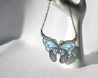 Spring Azure Butterfly NECKLACE - Venice - Blue Charcoal  - Embroidery - Metamorphosis - Long life