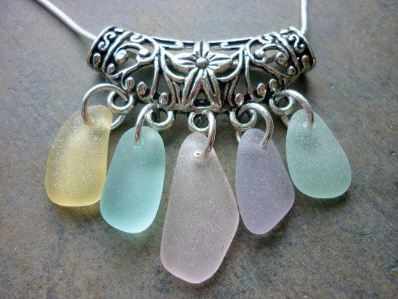 Sea Glass Necklace Aqua - Floral Filigree Seaglass Setting