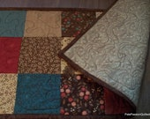 Quilted Patchwork Table Runner Late Bloomers Browns Reds Teals
